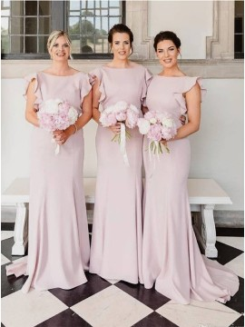 Sheath Long Pearl Pink Bridesmaid Dress with Cap Sleeves