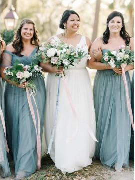 A-Line Sweetheart Floor-Length Dark Blue Bridesmaid Dress