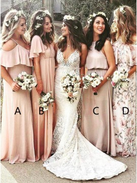 Mismatched A-Line Cold Shoulder Peach Chiffon Bridesmaid Dress