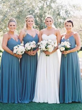 A-Line Spaghetti Straps Floor-Length Blue Bridesmaid Dress