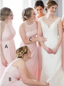 A-Line Round Neck Long Pearl Pink Chiffon Bridesmaid Dress