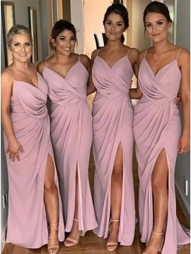Sheath Long Ruched Bridesmaid Dress with Split