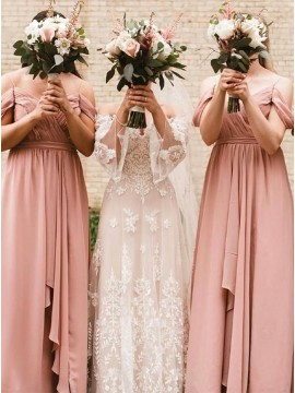 Dusty Rose Long Off the Shoulder Bridesmaid Dress