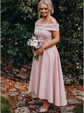Asymmetrical Long Off the Shoulder Bridesmaid Dress