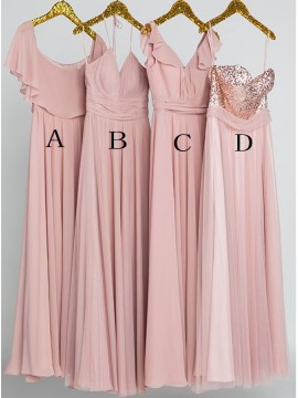 Dusty Rose Mismatched Bridesmaid Dresses Long Weddng Party Dress