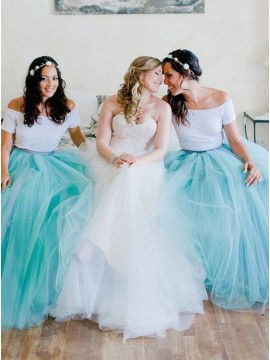 Two Piece Off-the-Shoulder Mint Tulle Bridesmaid Dress