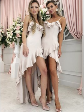 A-Line Spaghetti Straps High Low Pearl Pink Bridesmaid Dress with Ruffles