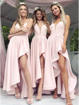 A-Line Spaghetti Straps Floor-Length Pink Bridesmaid Dress with Split