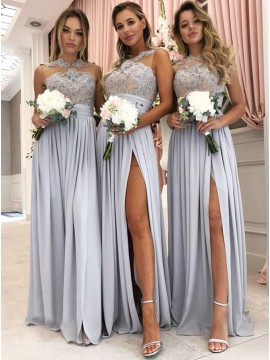 A-Line Jewel Floor-Length Dusty Blue Bridesmaid Dress with Appliques Split