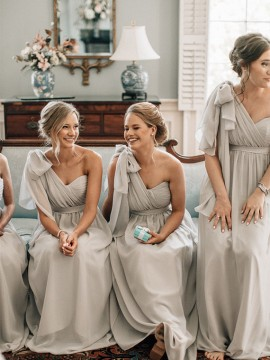 A-Line One Shoulder Floor-Length Light Grey Chiffon Bridesmaid Dresses with Sash