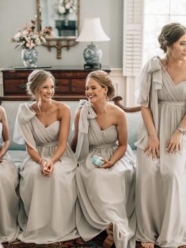 A-Line One Shoulder Floor-Length Light Grey Chiffon Bridesmaid Dresses with Sash
