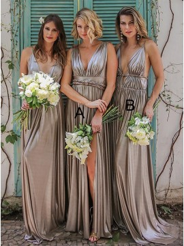 Mismatched Silver Bridesmaid Dress Long Backless Wedding Party Dress