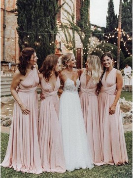 Popular Convertible Long Open Back Pink Bridesmaid Dress with Pleats
