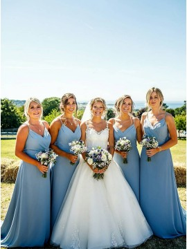 Simple Long Dusty Blue Bridesmaid Dresses