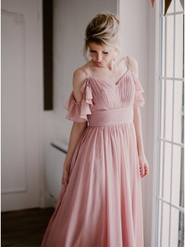 Chiffon Long Dusty Rose Bridesmaid Dresses with Sleeves