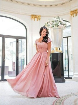 Long Off the Shoulder Dusty Rose Bridesmaid Dress
