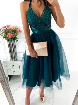 A-Line Halter Turquoise Short Homecoming Dress with Lace