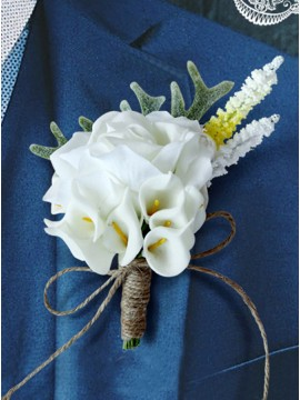 Silk Flower White Boutonniere