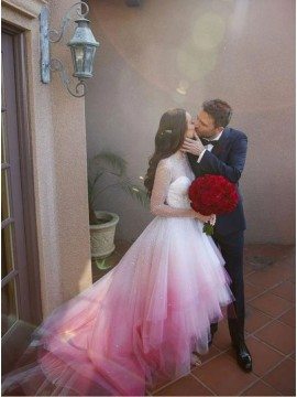 A-Line Long Sleeves Pink Ombre Wedding Dress With Beading