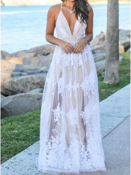 Glamorous White Spaghetti Straps Split Long Prom Dress with Appliques Lace