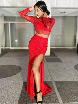 Red Satin Long Prom Dress