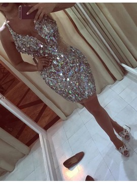 Sheath Deep V-neck Beading Rhinestone Short Homecoming Cocktail Dress