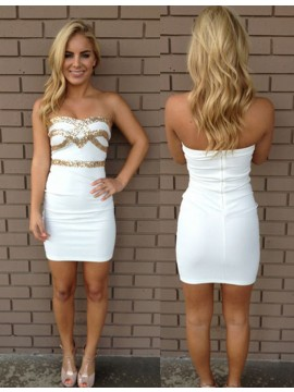 Sheath Sweetheart Sleeveless White Short Homecoming Cocktail Dress