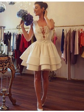 Ivory A-line Jewel Sleeveless Pleated Short Homecoming Cocktail Dress