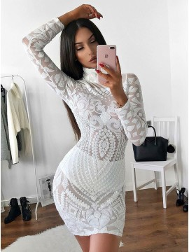 Sheath High Neck Long Sleeves Short White Lace Cocktail Dress