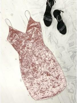 Sheath Spaghetti Straps Short Pink Velvet Cocktail Dress