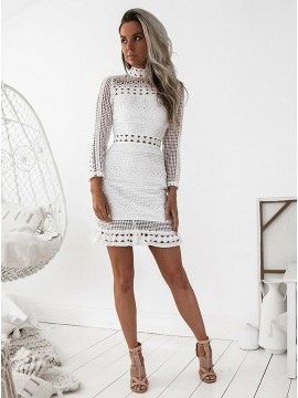 Sheath High Neck Long Sleeves Homecoming Dress White Lace Cocktail Dress