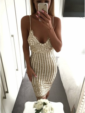 Sheath Spaghetti Straps Backless Short Cocktail Dress with Sequins
