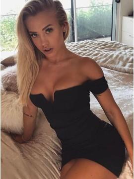 Sheath Off-the-Shoulder Short Sleeves Black Cocktail Dress