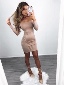Sheath Off-the-Shoulder Long Sleeves Blush Cocktail Dress