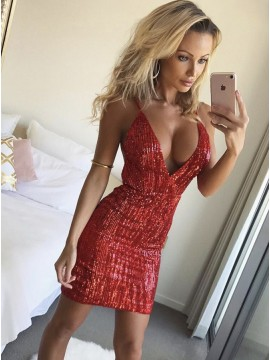 Sheath Spaghetti Straps Short Red Sequined Cocktail Dress