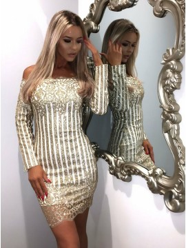 Sheath Off-the-Shoulder Long Sleeves Gold Cocktail Dress