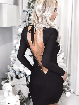 Sheath Round Neck Long Sleeves Black Cocktail Dress
