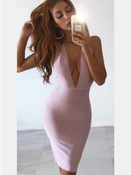 Sheath Deep V-Neck Open Back Knee-Length Pink Cocktail Dress
