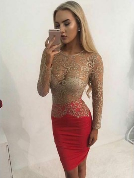 Sheath Round Neck Long Sleeves Red Cocktail Dress with Sequins