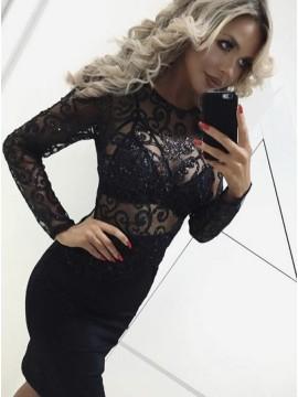 Sheath Round Neck Long Sleeves Short Black Cocktail Dress