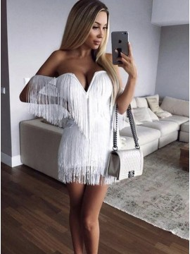 Sheath Sweetheart White Short Cocktail Dress with Tassel