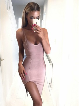 Sheath Spaghetti Straps Short Pink Cocktail Dress with Split