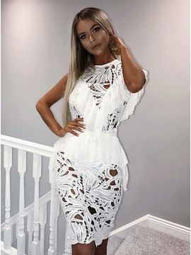 Sheath Round Neck Knee-Length White Lace Cocktail Dress