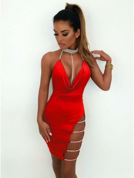 Sheath Halter Backless Red Short Cocktail Dress with Sequins