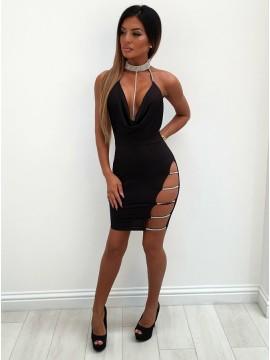 Sheath Halter Backless Black Short Cocktail Dress with Sequins