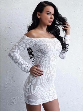 Sheath Off-the-Shoulder Long Sleeves White Cocktail Dress