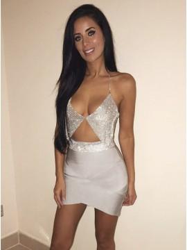 Sheath Spaghetti Straps Short Silver Cocktail Dress