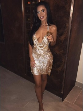 Sheath Halter Backless Short Champagne Cocktail Dress