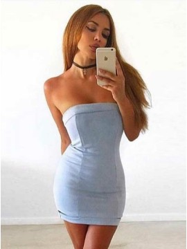 Sheath Strapless Sleeveless Short Blue Cocktail Dress