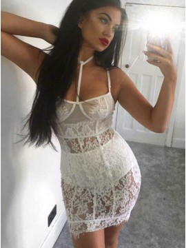 Sheath Spaghetti Straps Short White Lace Cocktail Dress